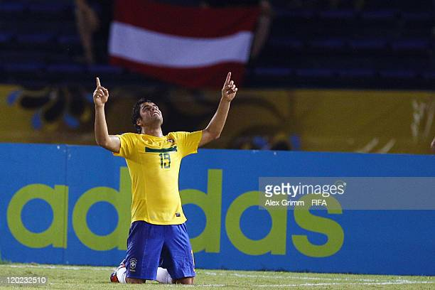 Henrique of Brazil celebrates his team's first goal during the FIFA U20 World Cup Group E match between Brazil and Austria at Estadio Metropolitano...