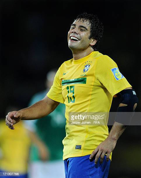 Henrique of Brazil smiles during the FIFA U20 World Cup Colombia 2011 semi final match between Brazil and Mexico at the Hernan Ramirez Villegas...