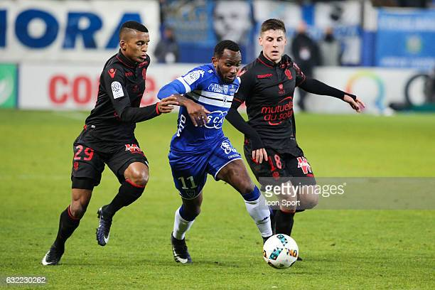 Henrique of Nice Lenny Nangis of Bastia and Remi Walter of Nice during the French Ligue 1 match between Bastia and Nice at Stade Armand Cesari on...