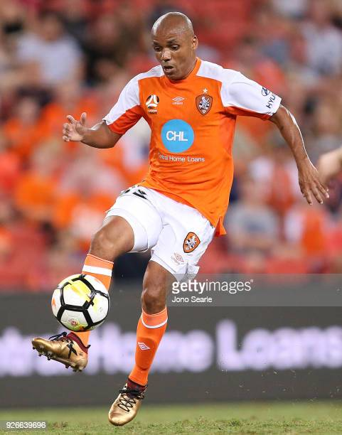 Henrique of the Brisbane Roar controls the ball during the round 22 ALeague match between the Brisbane Roar and Adelaide United at Suncorp Stadium on...