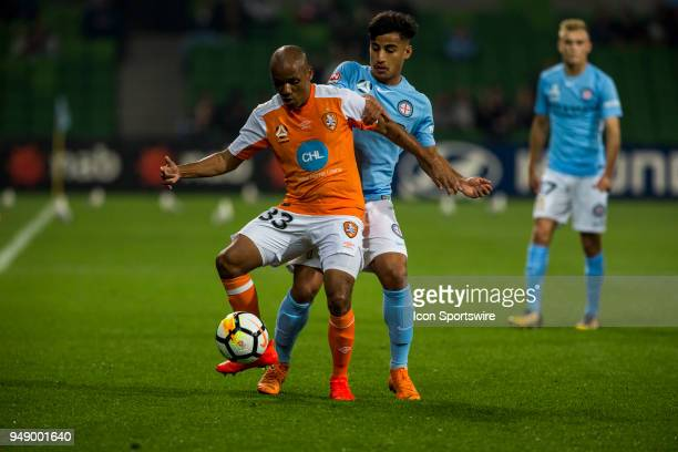 Henrique of the Brisbane Roar controls the ball in front of Daniel Arzani of Melbourne City during the Elimination Final of the Hyundai ALeague...