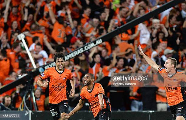 Henrique of the Roar celebrates after scoring a goal in extra time during the 2014 ALeague Grand Final match between the Brisbane Roar and the...