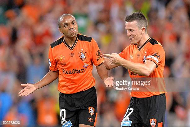 Henrique of the Roar celebrates scoring a goal during the round 12 ALeague match between the Brisbane Roar and Melbourne City FC at Suncorp Stadium...