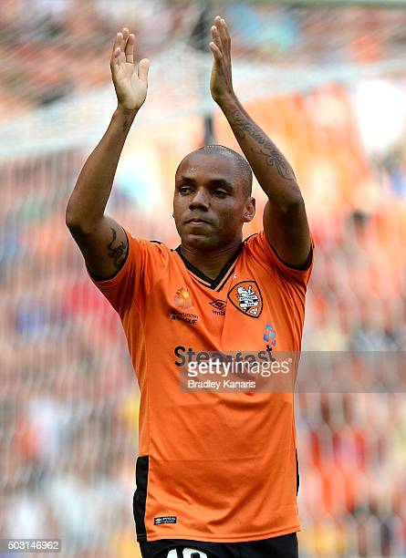Henrique of the Roar celebrates scoring a goal during the round 13 ALeague match between the Brisbane Roar and the Perth Glory at Suncorp Stadium on...