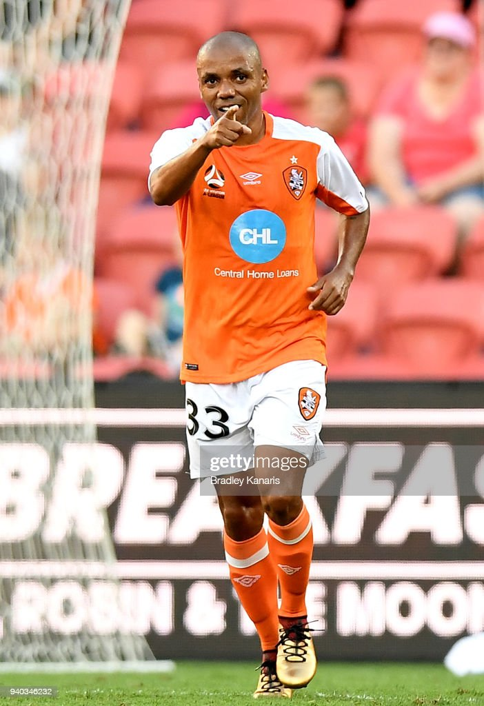 Henrique of the Roar celebrates scoring a goal during the round 25 A-League match between the Brisbane Roar and the Central Coast Mariners at Suncorp Stadium on March 31, 2018 in Brisbane, Australia.