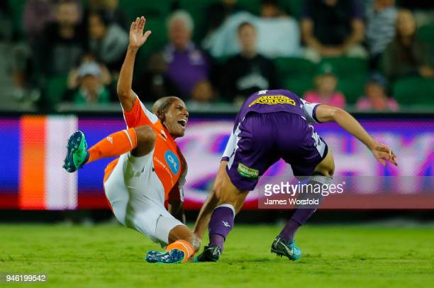 Henrique Silva of the Brisbane Roar reacts to a late tackle during the round 27 ALeague match between the Perth Glory and the Brisbane Roar at nib...