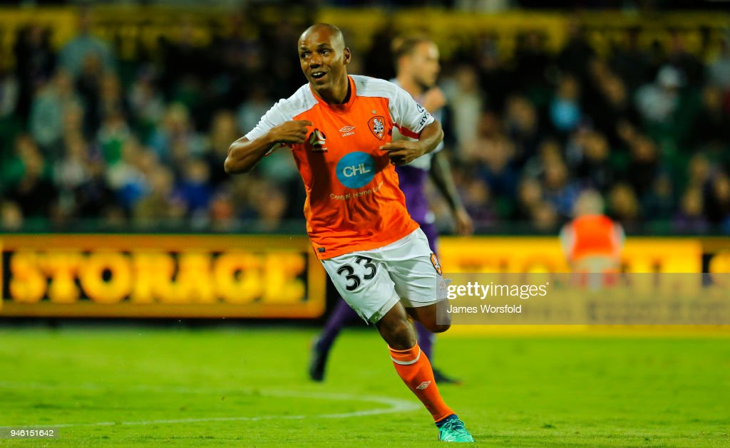 Henrique Silva of the Brisbane Roar scores the first goal for the roar during the round 27 A-League match between the Perth Glory and the Brisbane Roar at nib Stadium on April 14, 2018 in Perth, Australia.