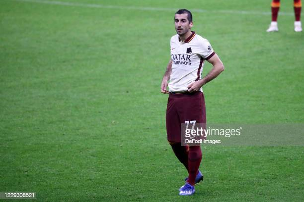 Henrix Hamleti Mkhitaryan of AS Roma looks on during the Serie A match between AC Milan and AS Roma at Stadio Giuseppe Meazza on October 26 2020 in...