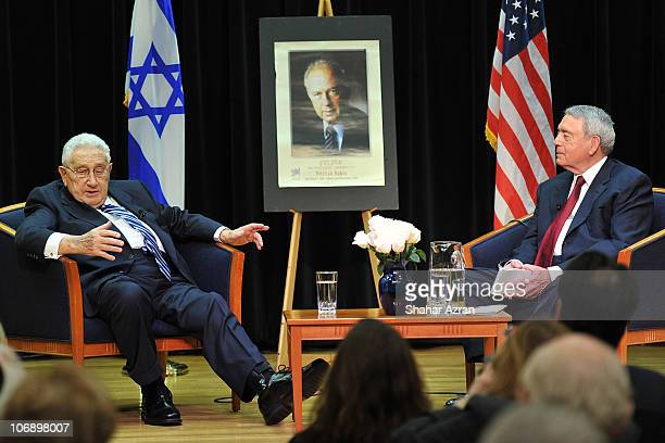 Henry A. Kissinger and Dan Rather attend an intimate conversation in commemoration of the 15th anniversary of the death of Israeli Prime Minister...