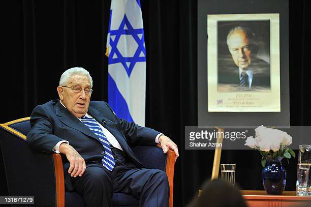 Henry A. Kissinger attends an intimate conversation in commemoration of the 15th anniversary of the death of Israeli Prime Minister Yitzhak Rabin at...