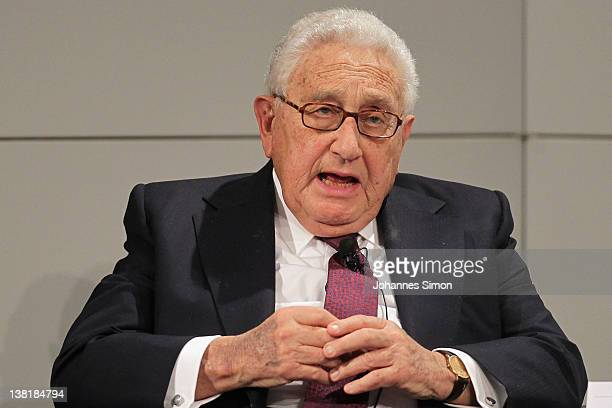 Henry A. Kissinger, former US secretary of state gestures during a panel talk during day 2 of the 48th Munich Security Conference at Hotel...