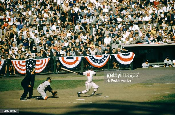 Henry Aaron of the Milwaukee Braves hits the ball during a game in the 1957 World Series against the New York Yankees circa October 1957 at the...
