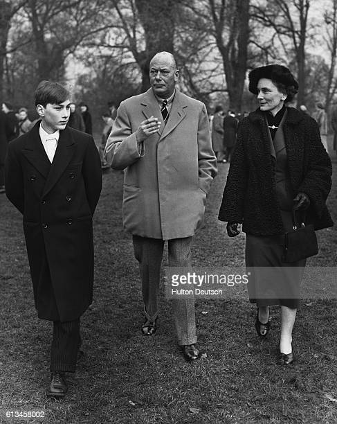 Henry and Alice Duke and Duchess of Gloucester with their son Prince William at Eton College on St Andrews Day