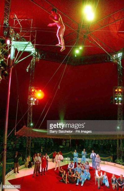Henry Ayala skipping on a high wire in the big top at Billy Smart's Circus in Bristol Ayala managed 1005 consecutive skips over a skipping rope on a...