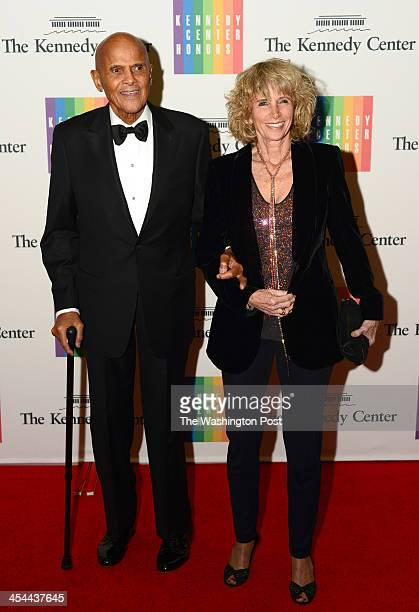 Henry Belafonte and wife Pamela Frank arrive at a special dinner for Kennedy Center honorees and guests at the State Department in Washington DC on...