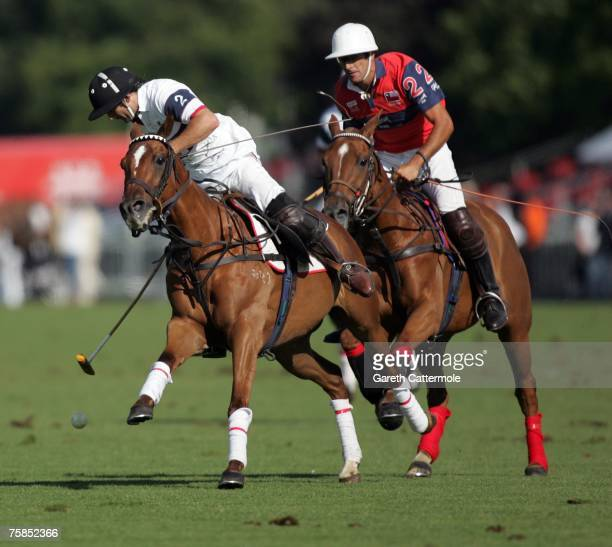 Henry Brett of England in action against Chile during the Coronation Final at Rock The Polo The Cartier International Polo Day at Guards Polo Club on...