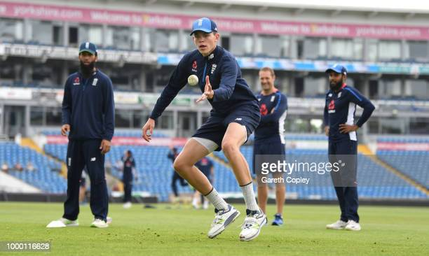 Henry Brookes of England takes part in a fielding drill during a net session at Headingley on July 16 2018 in Leeds England