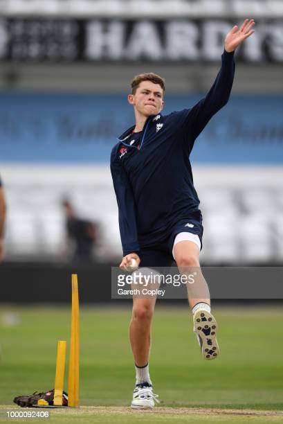 Henry Brooks of England bowls during a net session at Headingley on July 16 2018 in Leeds England