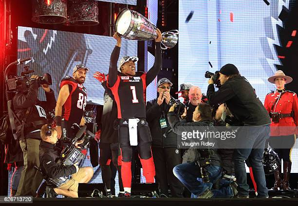 Henry Burris of the Ottawa Redblacks celebrates after winning the 104th Grey Cup Championship Game against the Calgary Stampeders at BMO Field on...
