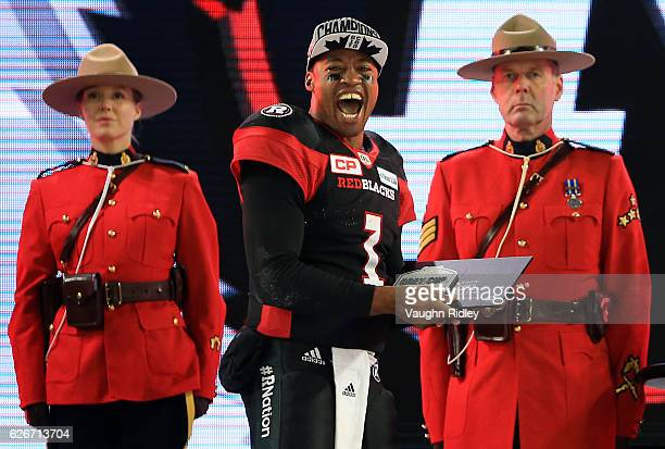 Henry Burris of the Ottawa Redblacks wins the Most Valuable Player award following victory in the 104th Grey Cup Championship Game against the...
