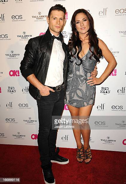 Henry Byalikov and Sharna Burgess attend OK Magazine's annual 'So Sexy' party at SkyBar at the Mondrian Los Angeles on April 17 2013 in West...