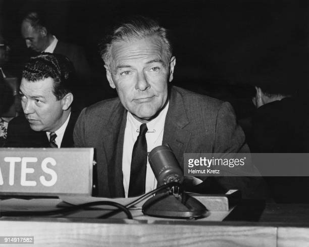Henry Cabot Lodge Jr a Republican candidate in the 1964 Presidential election during the Presidential Preference Primary in New Hampshire USA 10th...