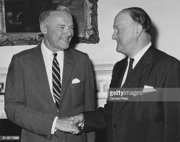 Henry Cabot Lodge Jr the United States Ambassador to South Vietnam meets British Foreign Secretary R A Butler or Rab Butler at 1 Carlton Gardens the...