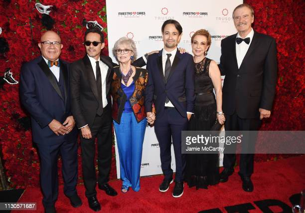 Henry Cardenas Marc Anthony Rita Moreno LinManuel Miranda Marta Sahagún and Vicente Fox attend the 2019 Maestro Cares Gala at Cipriani Wall Street on...