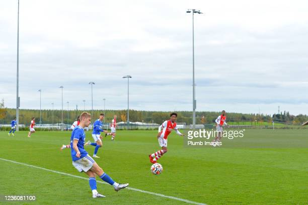 Henry Cartwright of Leicester City during the Leicester City v Arsenal: U18 Premier League match at Seagrave on October 23, 2021 in Seagrave, United...