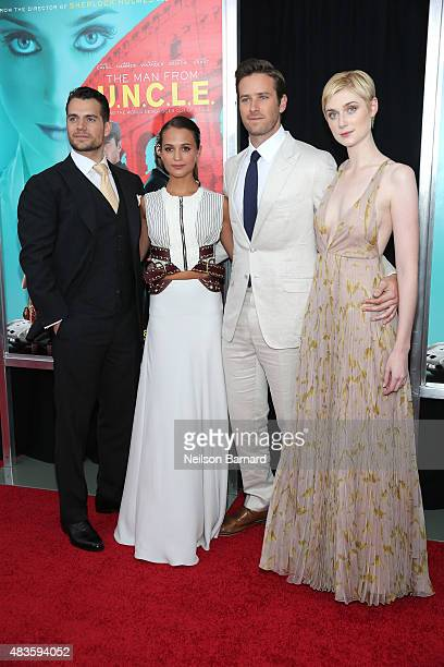 Henry Cavill Alicia Vikander Armie Hammer and Elizabeth Debicki attend the New York Premiere of 'The Man From UNCLE' at Ziegfeld Theater on August 10...