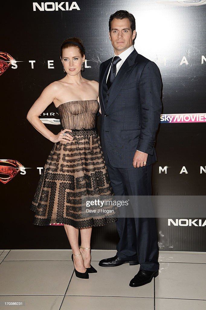 Henry Cavill and Amy Adams attend the European premiere of 'Man Of Steel' at The Empire Leicester Square on June 12, 2013 in London, England.