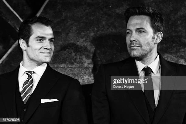 Henry Cavill and Ben Affleck attend the European Premiere of Batman V Superman Dawn Of Justice at Odeon Leicester Square on March 22 2016 in London...