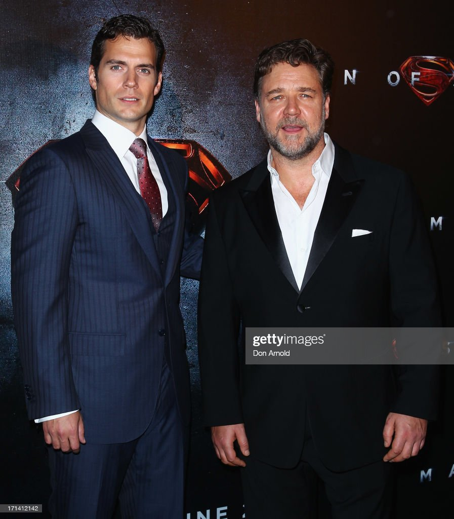 Henry Cavill and Russell Crowe attend the 'Man Of Steel' Australian Premiere at Event Cinemas, George Street on June 24, 2013 in Sydney, Australia.