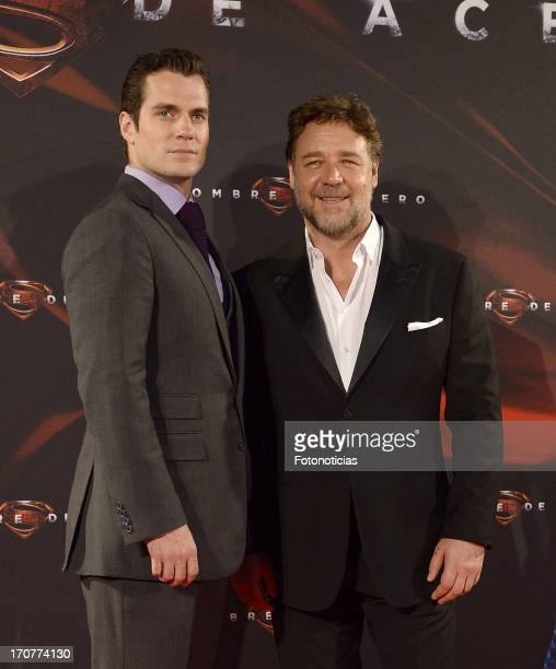 Henry Cavill and Russell Crowe attend the premiere of ' Man of Steel' at Capitol Cinema on June 17 2013 in Madrid Spain