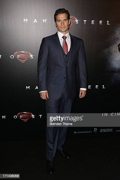 Henry Cavill arrives at the 'Man Of Steel' Australian premiere on June 24 2013 in Sydney Australia