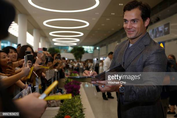 Henry Cavill arrives in support of the 'Mission Impossible Fallout' World Press Tour at Incheon Airport on July 15 2018 in Incheon South Korea