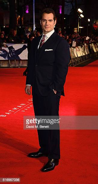 """Henry Cavill attends the European Premiere of """"Batman V Superman: Dawn Of Justice"""" at Odeon Leicester Square on March 22, 2016 in London, England."""