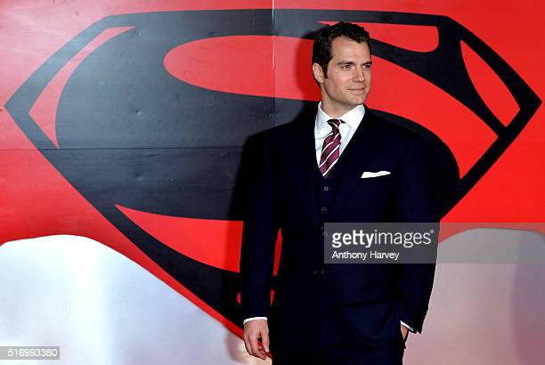 Henry Cavill attends the European Premiere of 'Batman V Superman Dawn Of Justice' at Odeon Leicester Square on March 22 2016 in London England