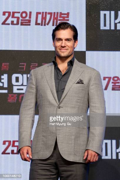 Henry Cavill attends the 'Mission Impossible Fallout' Korea Press Conference and Photo Call at Lotte Hotel Seoul on July 16 2018 in Seoul South Korea