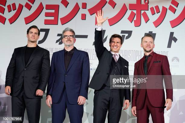 Henry Cavill Christopher McQuarrie Tom Cruise and Simon Pegg attend the 'Mission Impossible Fallout' Premiere at TOHO Cinemas Hibiya on July 18 2018...