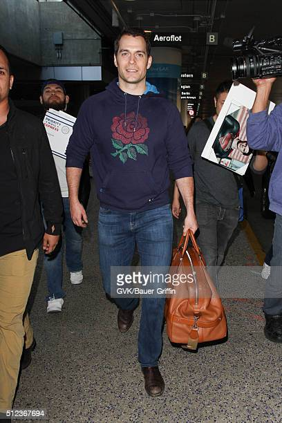Henry Cavill is seen at LAX on February 25 2016 in Los Angeles California