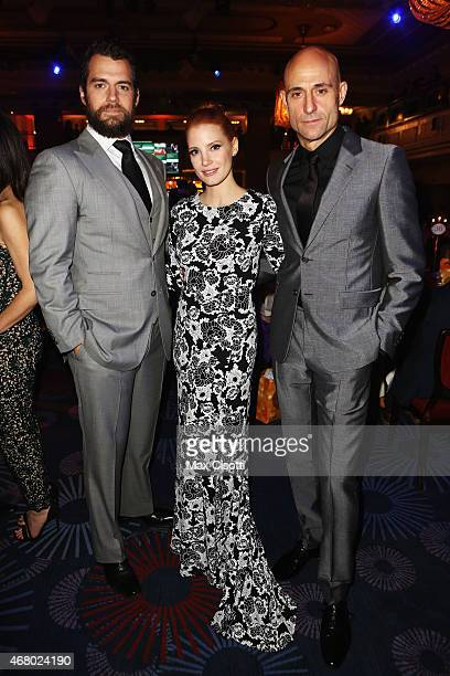 Henry Cavill Jessica Chastain and Mark Strong attend the Jameson Empire Awards 2015 at Grosvenor House Hotel on March 29 2015 in London England