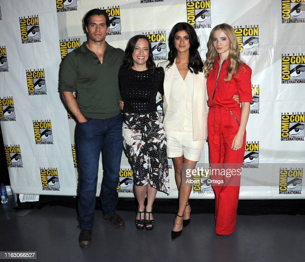 Henry Cavill Jodhi May Anya Chalotra and Freya Allan attend The Witcher A Netflix Original Series Panel during 2019 ComicCon International at San...