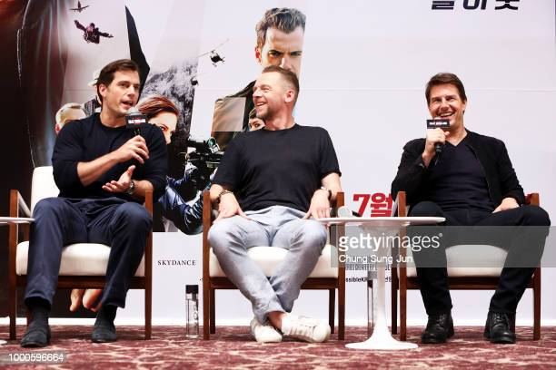 Christopher McQuarrie Henry Cavill Simon Pegg and Tom Cruise make a special theater visit at the 'Mission Impossible Fallout' Seoul Screening at...