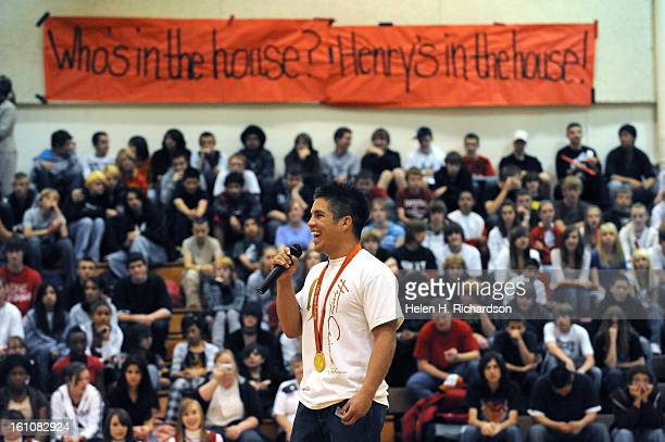 Henry Cejudo addresses the packed audience of students teachers and local dignitaries that turned out to see him 2006 Coronado High School graduate...