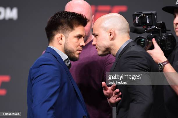 Henry Cejudo and Marlon Moraes of Brazil face off during the UFC Seasonal Press Conference inside State Farm Arena on April 12 2019 in Atlanta Georgia
