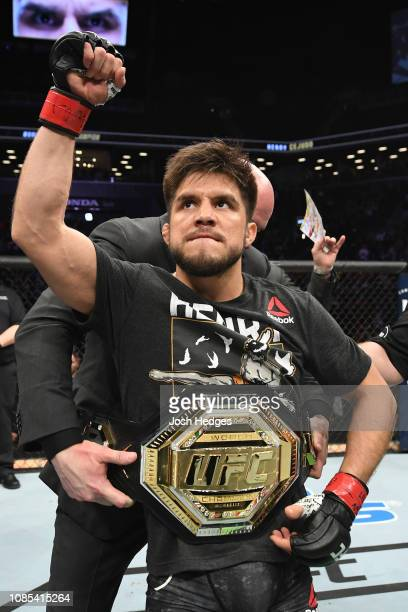 Henry Cejudo celebrates his TKO victory over TJ Dillashaw in their flyweight bout during the UFC Fight Night event at the Barclays Center on January...