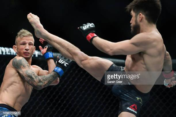 Henry Cejudo fights against TJ Dillashaw during their UFC Flyweight title match at UFC Fight Night at Barclays Center on January 19 2019 in New York...