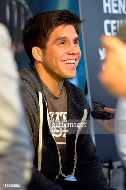 Henry Cejudo interacts with media during the UFC 185 Ultimate Media Day at the American Airlines Center on March 12 2015 in Dallas Texas
