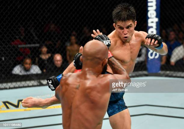 Henry Cejudo kicks Demetrious Johnson in their UFC flyweight championship fight during the UFC 227 event inside Staples Center on August 4 2018 in...